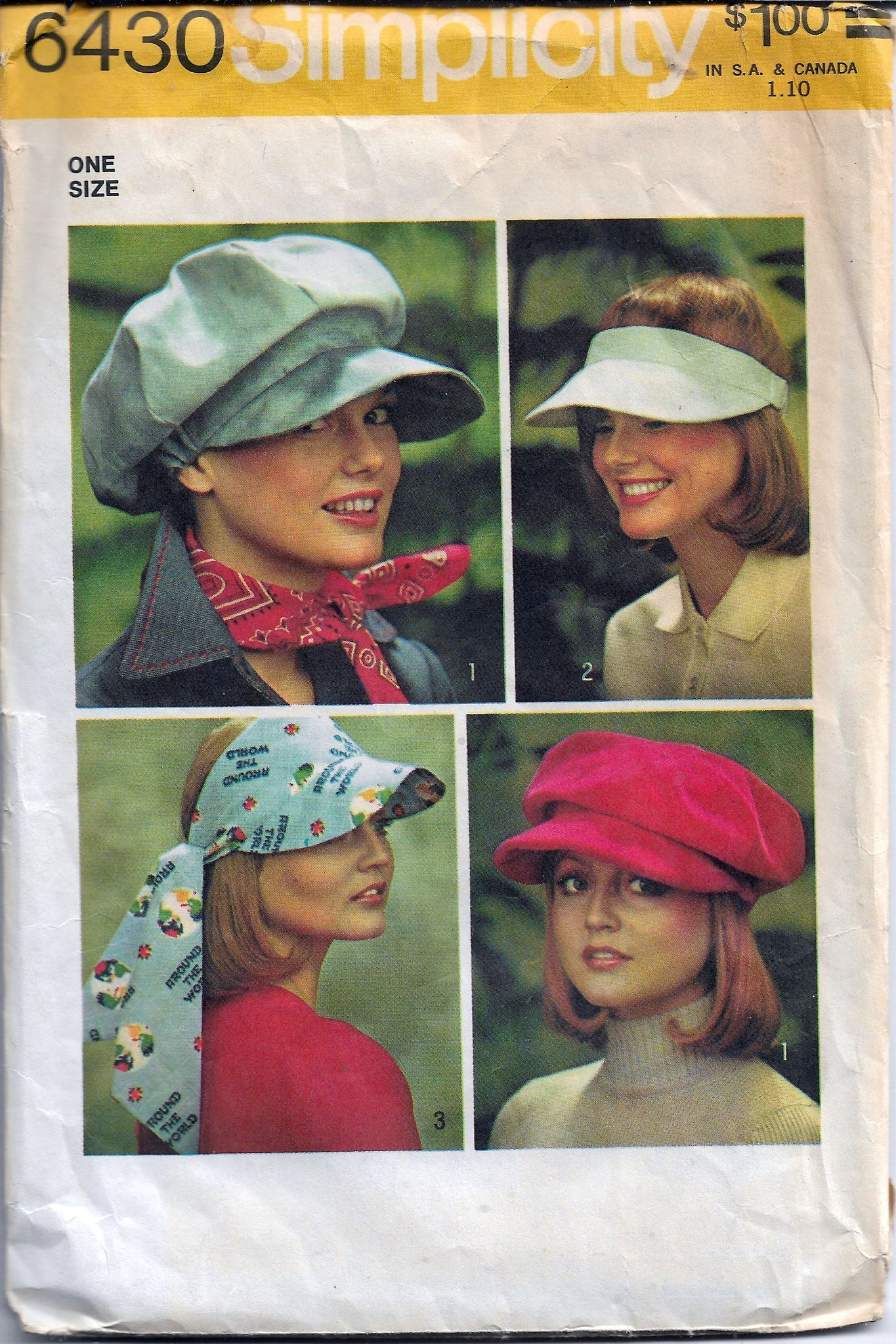 Simplicity 6430 Vintage Sewing Pattern 1970s Ladies Hat Visor - VintageStitching - Vintage Sewing Patterns