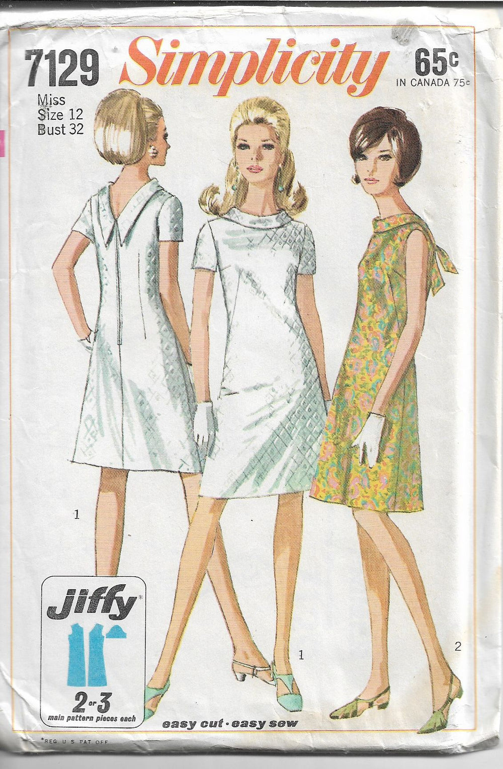 Simplicity 7129 Ladies A-Line Jiffy Dress Vintage Pattern 1960s - VintageStitching - Vintage Sewing Patterns