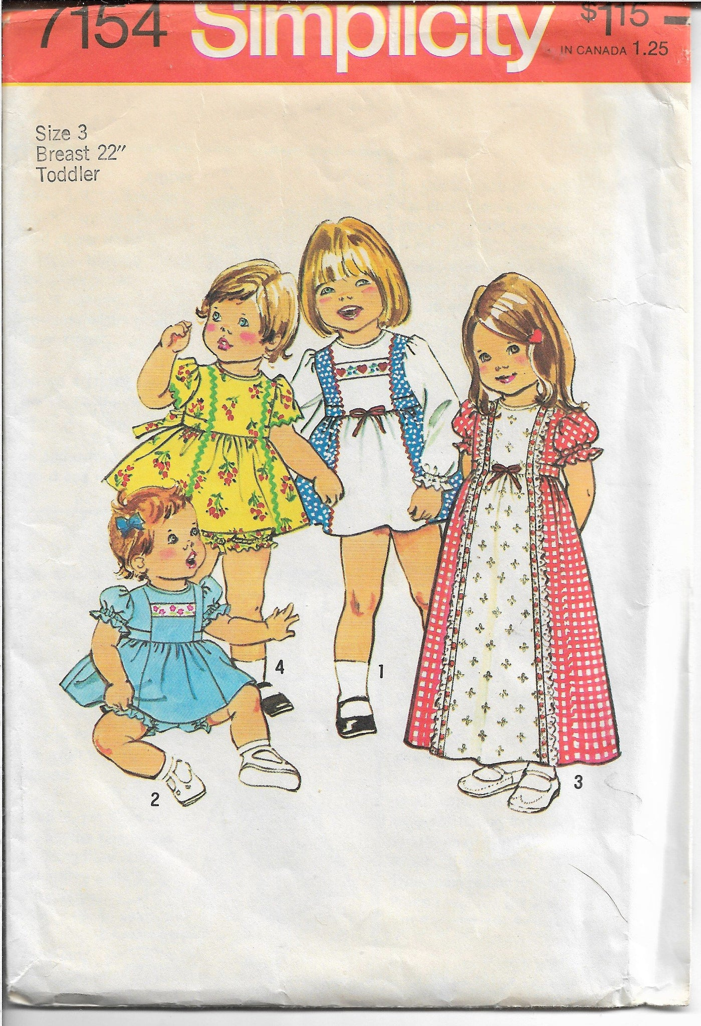 Simplicity 7154 Toddlers Shortie Dress Panties Vintage Sewing Pattern 1970s - VintageStitching - Vintage Sewing Patterns