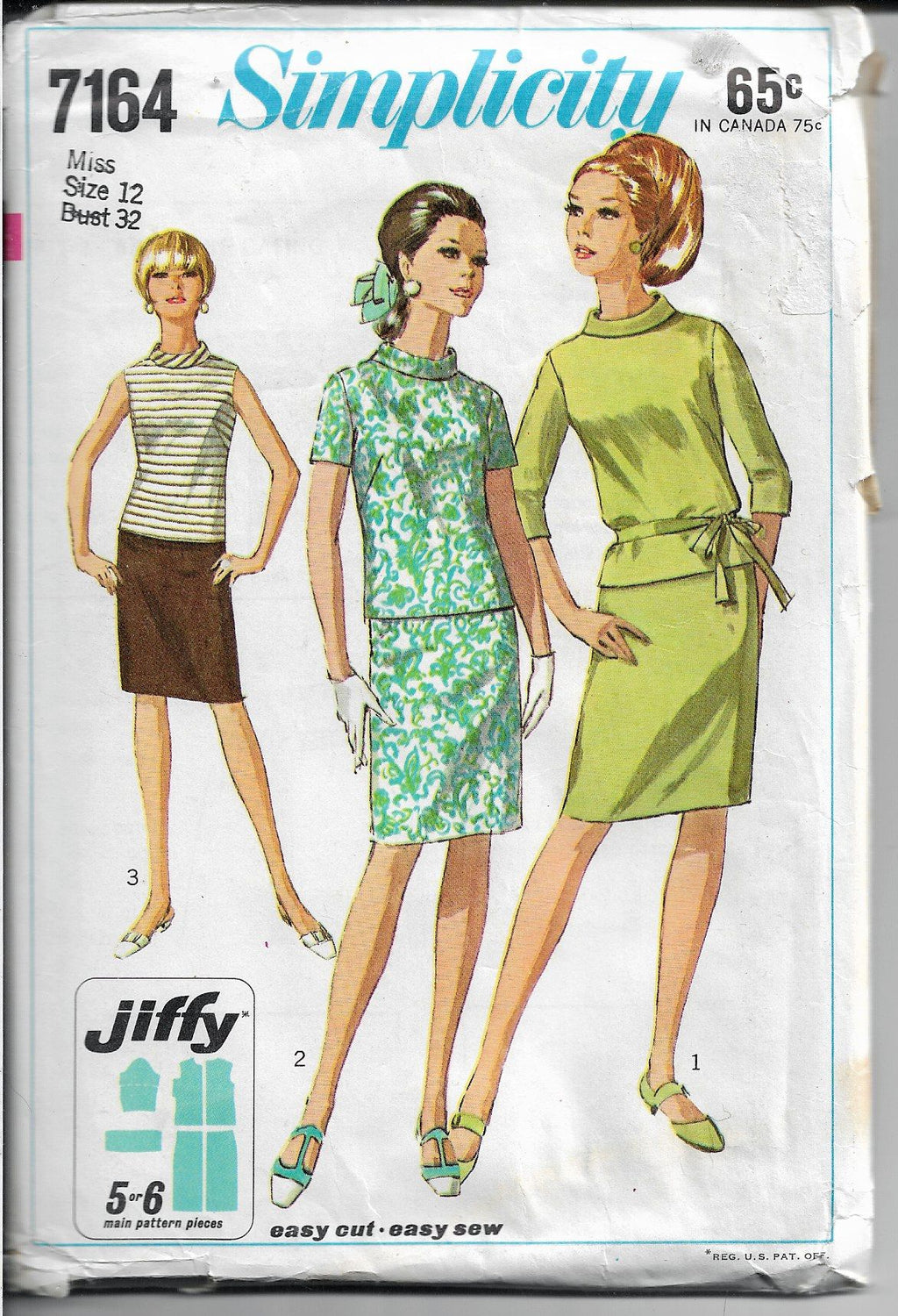 Simplicity 7164 Ladies Two Piece Dress Jiffy Vintage Sewing Pattern 1960's - VintageStitching - Vintage Sewing Patterns