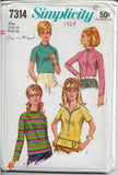 Simplicity 7314  Ladies Blouse Stand Up Collar Vintage Sewing Pattern 1960s - VintageStitching - Vintage Sewing Patterns