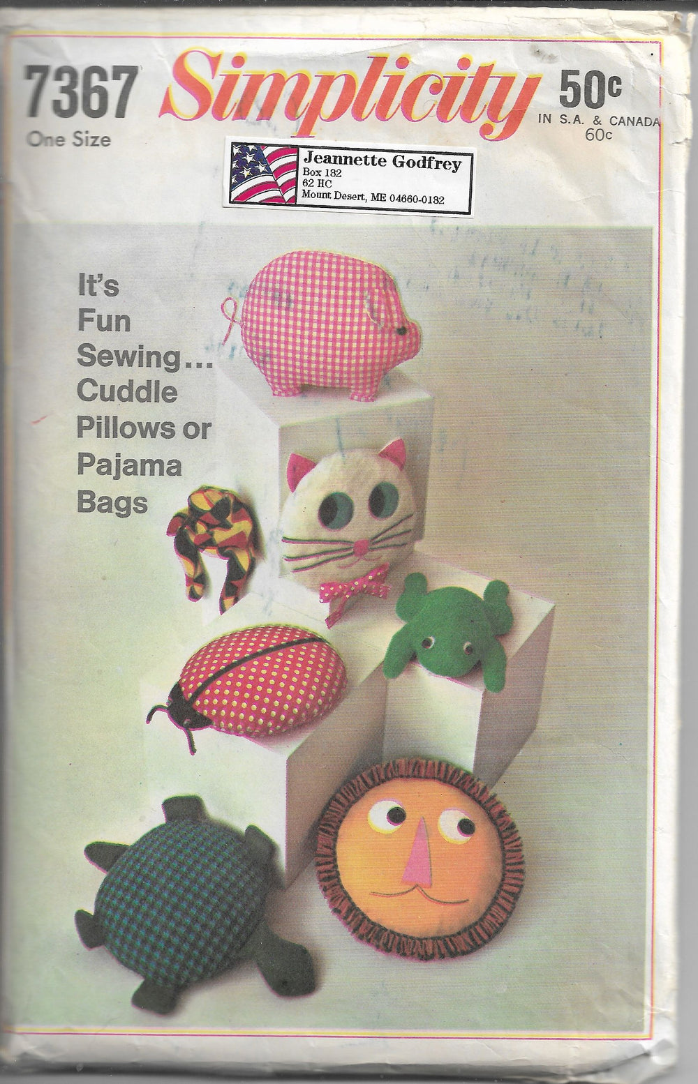 Simplicity 7367 Vintage Craft Sewing Pattern 1960s Animal Pillows - VintageStitching - Vintage Sewing Patterns