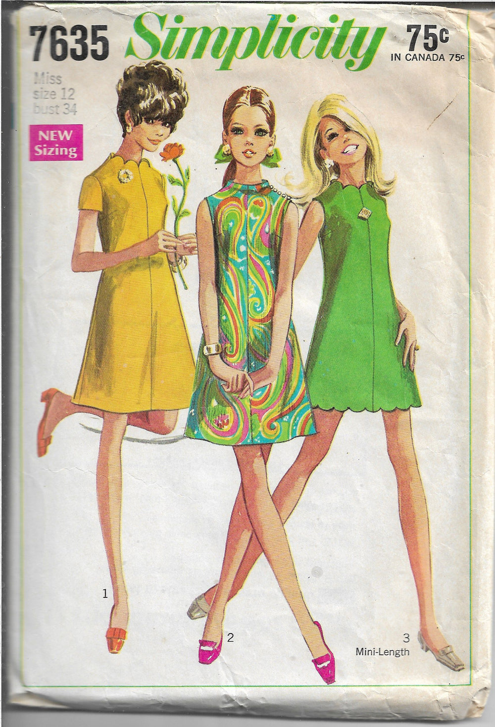 Simplicity 7635 Shortie Dress Vintage Sewing Pattern 1960s - VintageStitching - Vintage Sewing Patterns