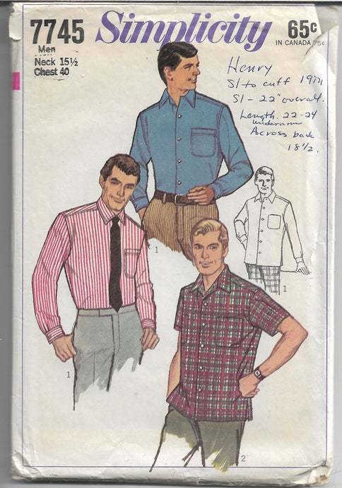 Simplicity 7745 Mens Shirt Vintage Sewing Patterns 1960s - VintageStitching - Vintage Sewing Patterns