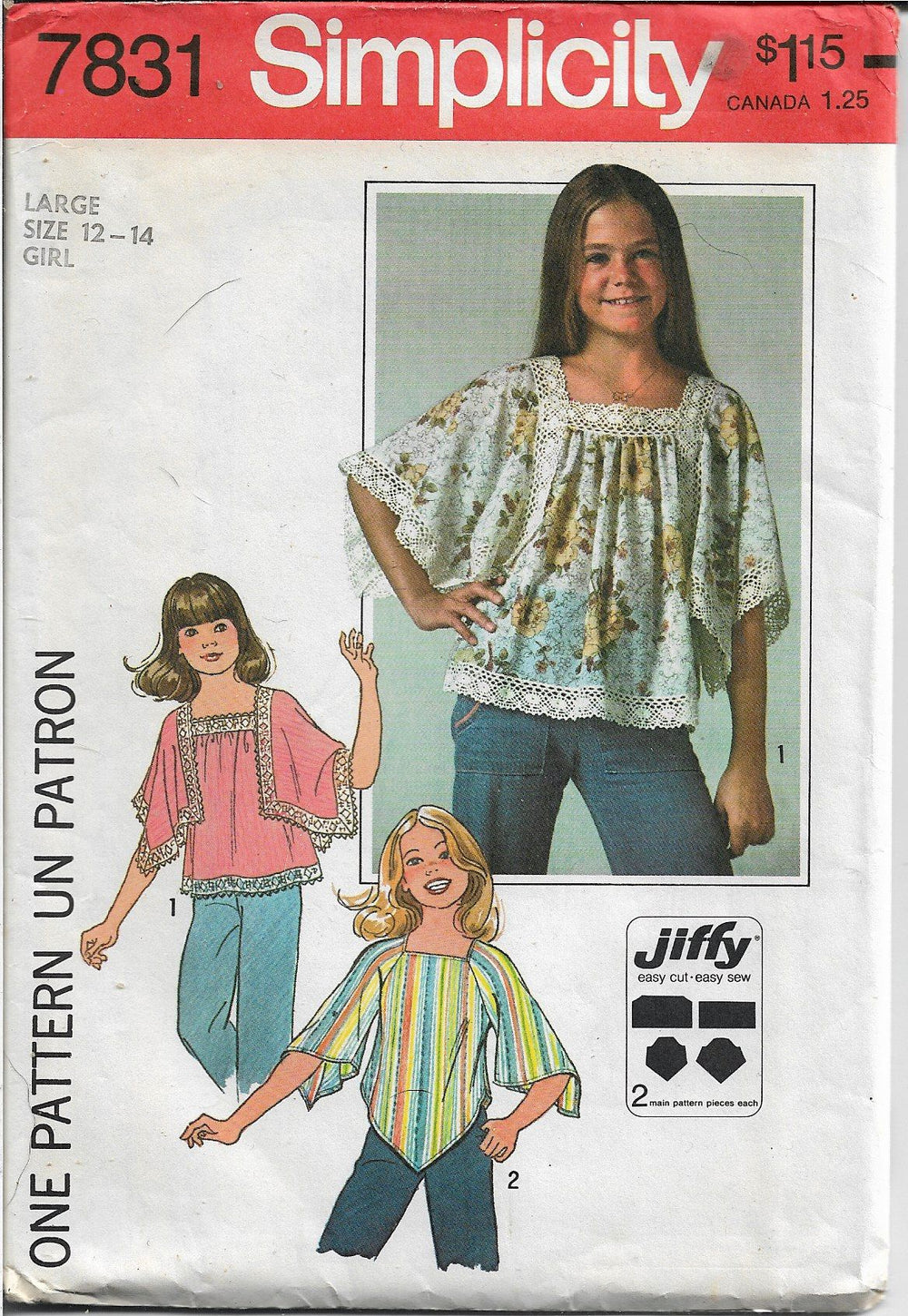 Simplicity 7831 Girls Pullover Top Jiffy Vintage Sewing Pattern 1970s - VintageStitching - Vintage Sewing Patterns