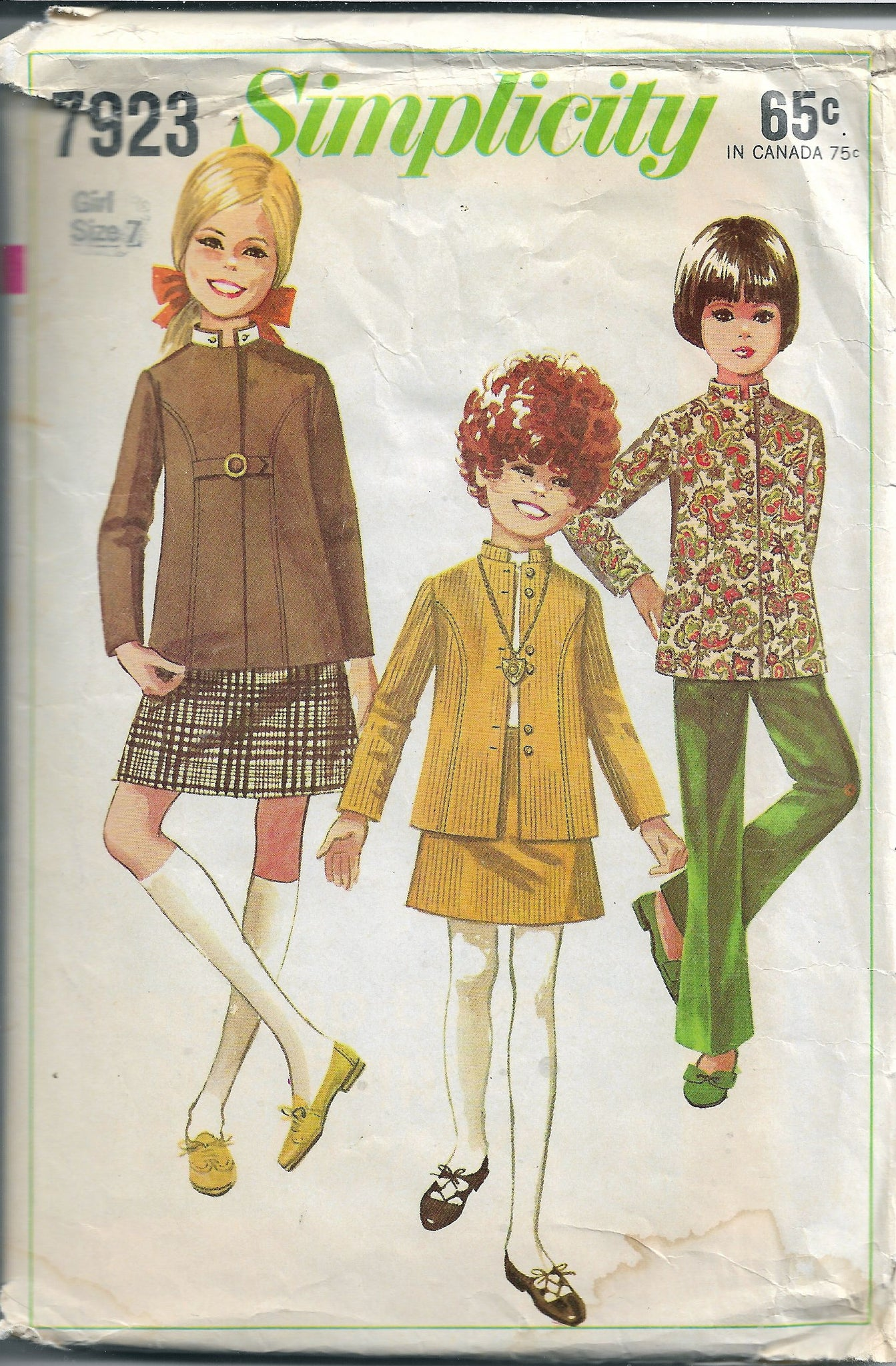 Simplicity 7923 Vintage Sewing Pattern 1960s Girls Bell Bottom Pants Jacket - VintageStitching - Vintage Sewing Patterns