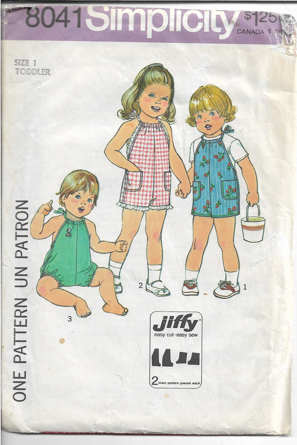 Simplicity 8041 Toddler Short Jumpsuit Romper Vintage Sewing Pattern 1970s - VintageStitching - Vintage Sewing Patterns