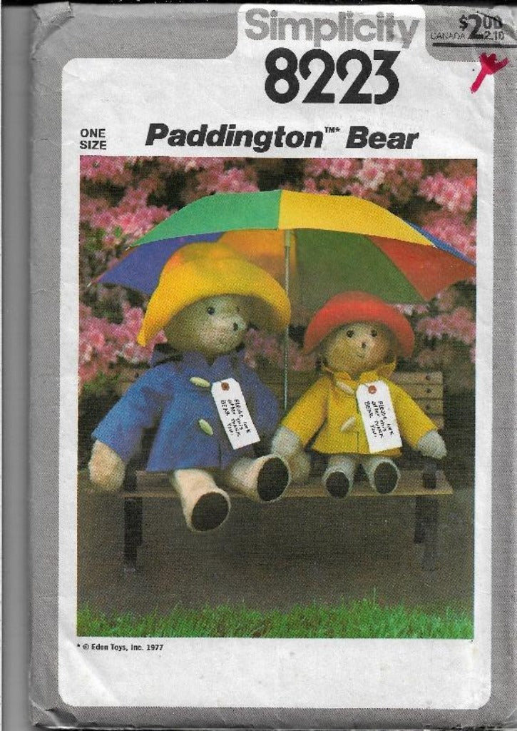 Simplicity 8223 Vintage Craft Sewing Pattern 1970s Paddington Bear Stuffed - VintageStitching - Vintage Sewing Patterns