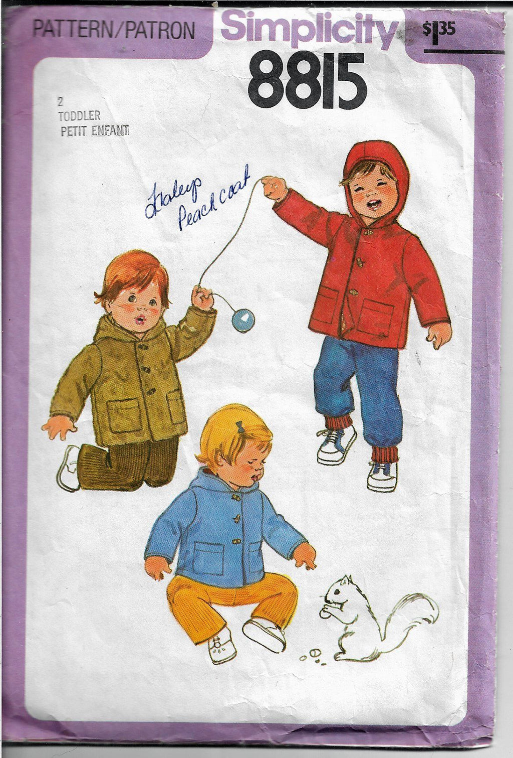 Simplicity 8815 Toddler Coat Jacket Vintage Sewing Pattern 1950's - VintageStitching - Vintage Sewing Patterns