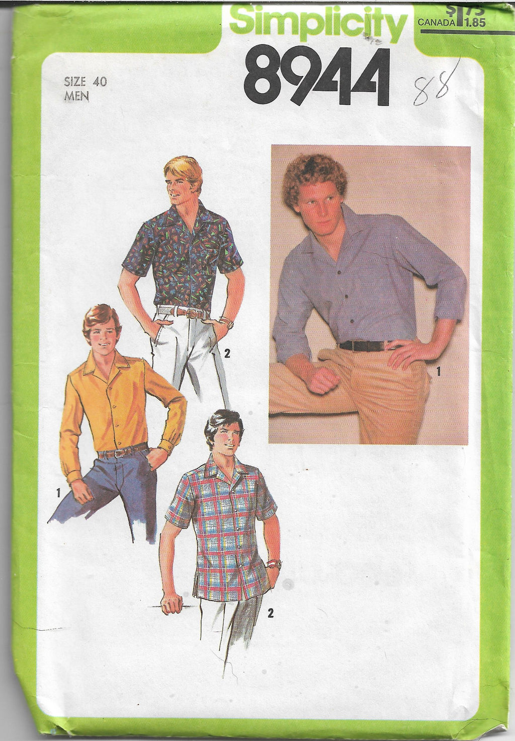 Simplicity 8944 Mens Shirt Vintage Sewing Pattern 1970s - VintageStitching - Vintage Sewing Patterns