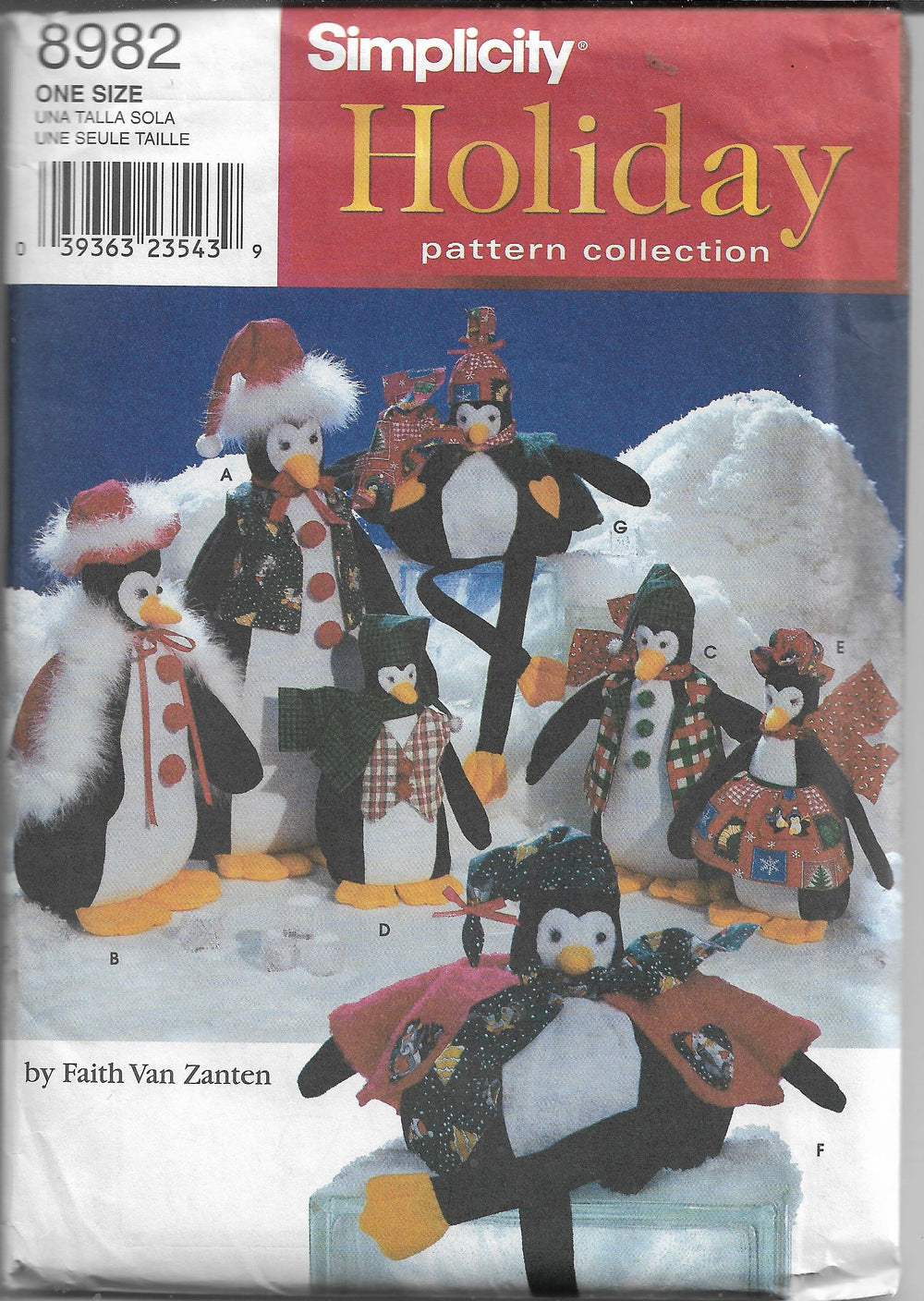 Simplicity 8982 Craft Sewing Pattern Christmas Stuffed Penguins - VintageStitching - Vintage Sewing Patterns