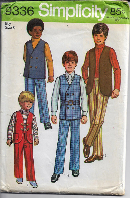 Simplicity 9336 Boys Suit Shirt Pants Vest Vintage Sewing Pattern 1970s - VintageStitching - Vintage Sewing Patterns
