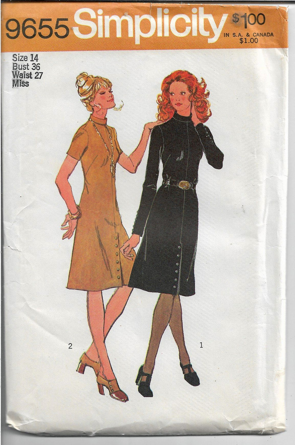 Simplicity 9655 Ladies Dress Back Zipper Vintage Sewing Pattern 1970's - VintageStitching - Vintage Sewing Patterns
