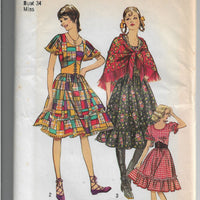 Simplicity 9699 Ladies Gypsy Dress Shawl Vintage Sewing Pattern 1970s - VintageStitching - Vintage Sewing Patterns