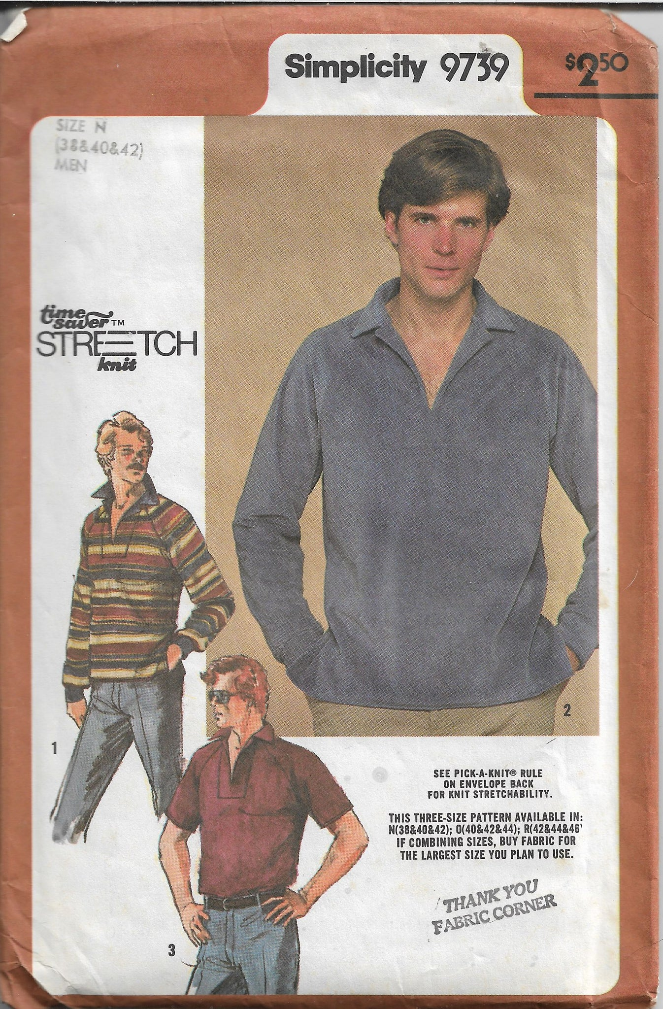 Simplicity 9739 Mens Pullover Top Shirt Vintage Sewing Pattern 1980s - VintageStitching - Vintage Sewing Patterns