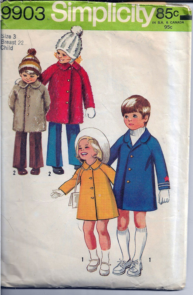 Simplicity 9903 Toddler Girls Boys Winter Spring Coat Vintage Sewing Pattern 1970s - VintageStitching - Vintage Sewing Patterns