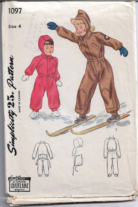 simplicity 1097 child snowsuit vintage pattern 1940s