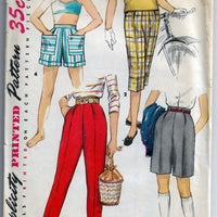 simplicity 1128 girls pants shorts vintage pattern 1950s