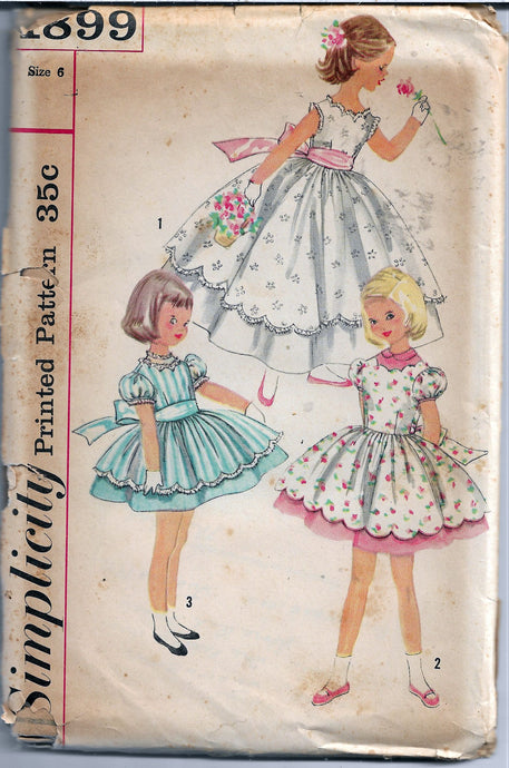 simplicity 1899 vintage pattern 1950s girls dress