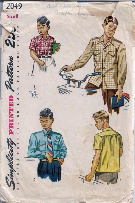 Simplicity 2049 Boys Button Front Shirt Vintage 1940's Sewing Pattern - VintageStitching - Vintage Sewing Patterns