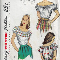 Simplicity 2127 Puff Sleeve Off Shoulder Blouse Vintage Sewing Pattern