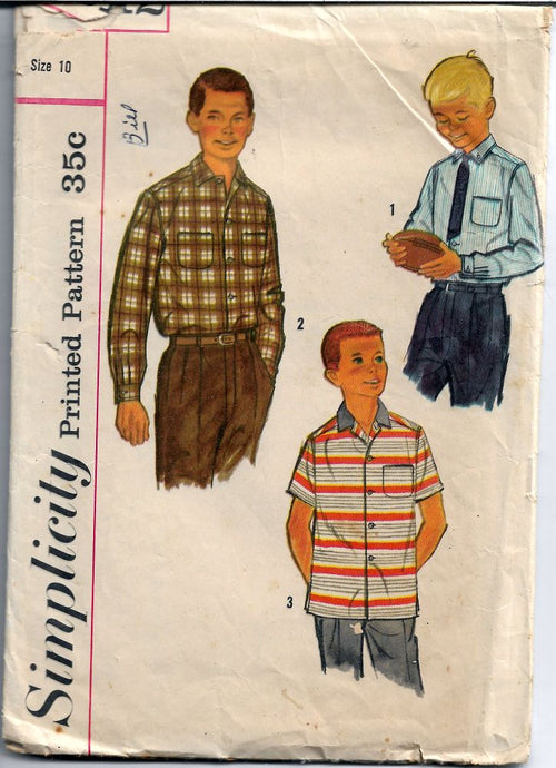 Simplicity 2212 Boys' Shirt Back Yoke Vintage Sewing Pattern 1950's - VintageStitching - Vintage Sewing Patterns