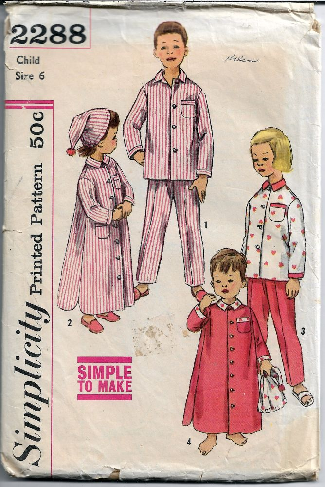 Simplicity 2288 1960's Vintage Sewing Pattern Childs' Pajamas - VintageStitching - Vintage Sewing Patterns