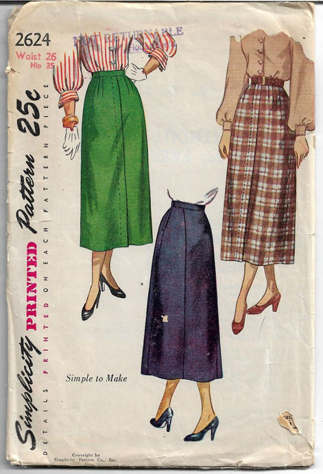 Simplicity 2624 Ladies Skirt Dart Fitted Vintage 1940's Sewing Pattern - VintageStitching - Vintage Sewing Patterns