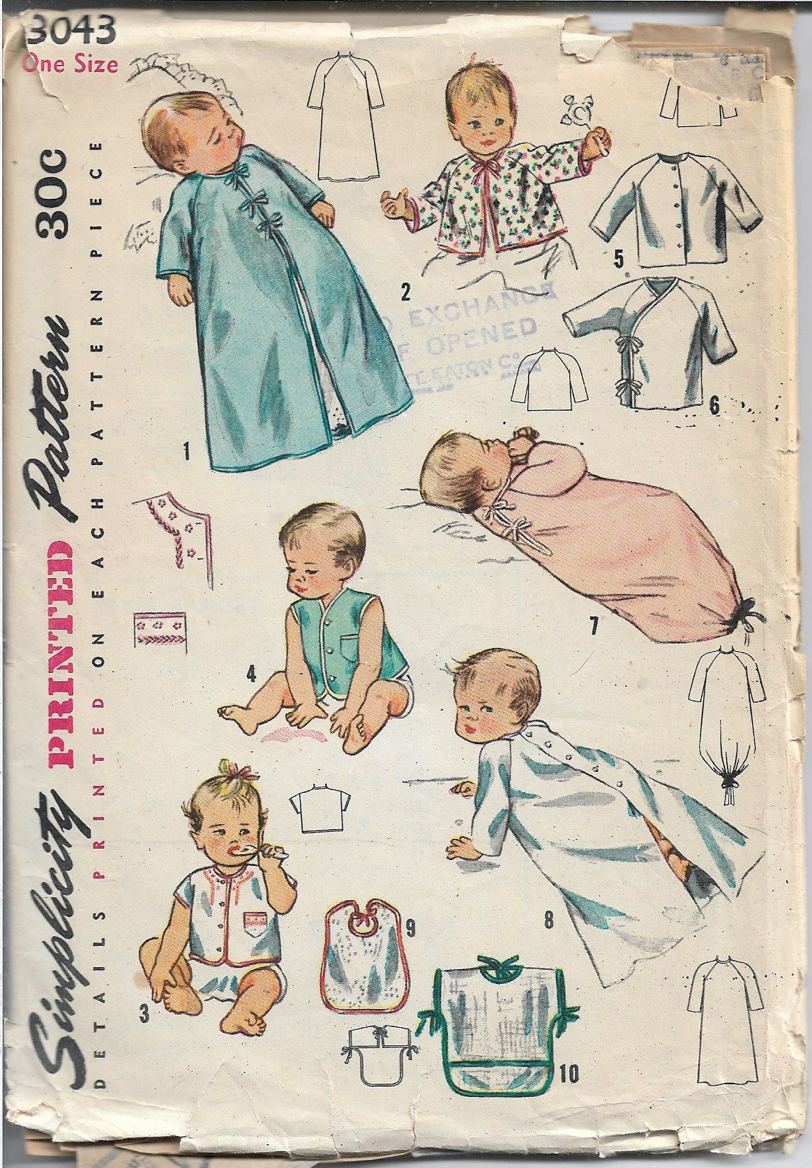 Simplicity 3043 Vintage 1940's Sewing Pattern Infant Layette Cardigan Bunting - VintageStitching - Vintage Sewing Patterns
