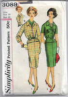 simplicity 3089 slenderette dress vintage pattern 1950s