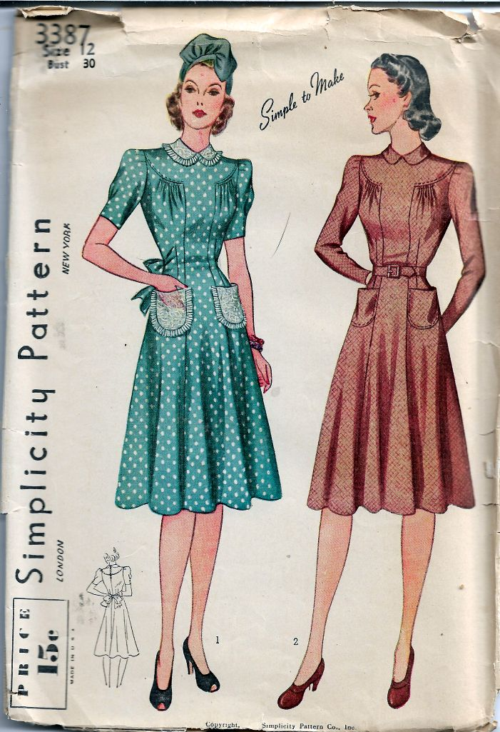 Simplicity 3387 Ladies Day Dress Vintage Sewing Pattern 1940s