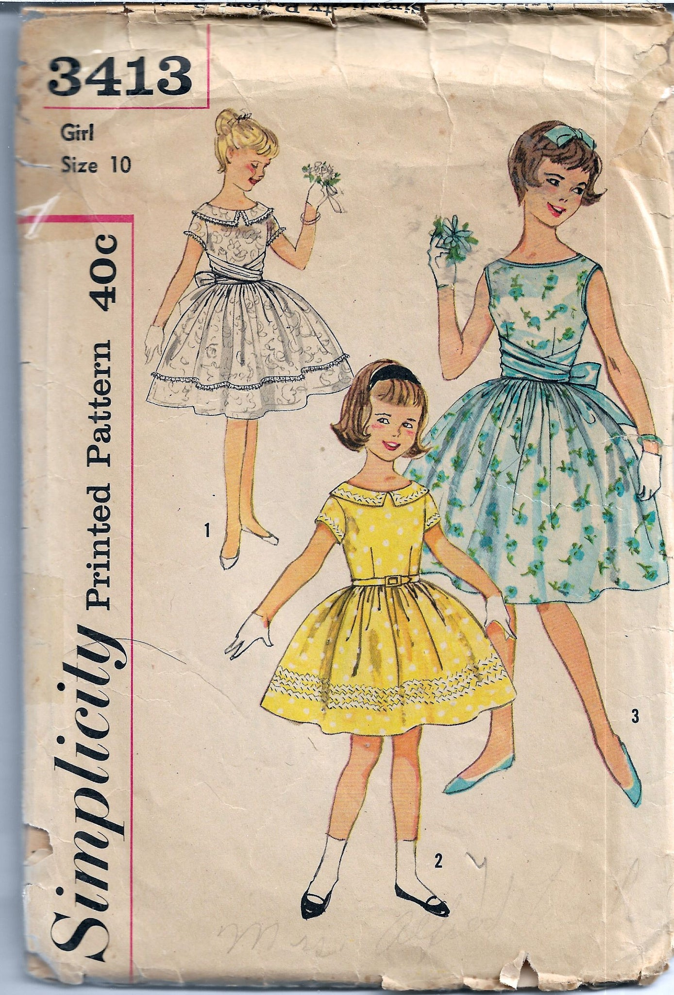 vintage 1960s sewing pattern dress simplicity 3413