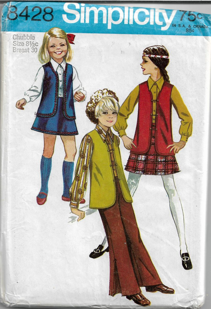 Simplicity 3428 Vintage 60's Sewing Pattern Girls Blouse Skirt Pants - VintageStitching - Vintage Sewing Patterns