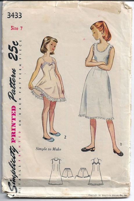 simplicity 3433 girls panties slip vintage pattern