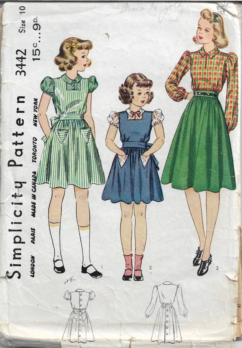 Simplicity 3442 Vintage Sewing Pattern 1940s Girls Pinafore Blouse Unprinted - VintageStitching - Vintage Sewing Patterns