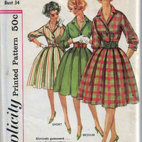 Simplicity 3580 Vintage Sewing Pattern 1960s Ladies Dress Pleated Skirt Shirtwaist - VintageStitching - Vintage Sewing Patterns