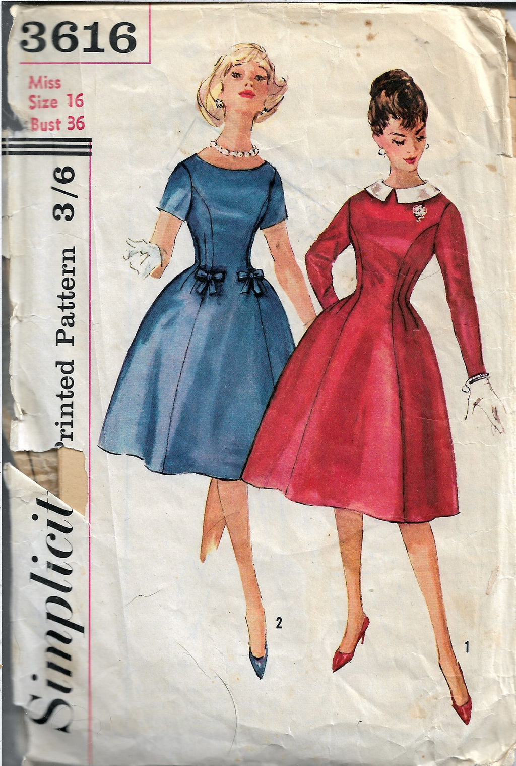 Simplicity 3616 Ladies Princess Dress Vintage Sewing Pattern 1960s - VintageStitching - Vintage Sewing Patterns
