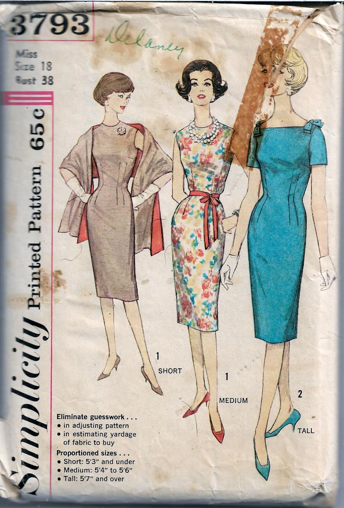Simplicity 3793 One Piece Dress Stole Shawl Vintage Sewing Pattern