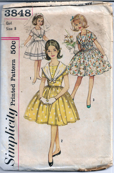 vintage 1960s pattern girls dress simplicity 3848