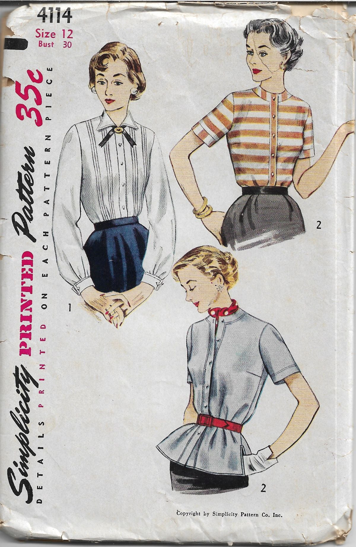 Simplicity 4114 Ladies Blouse Overblouse Vintage Sewing Pattern