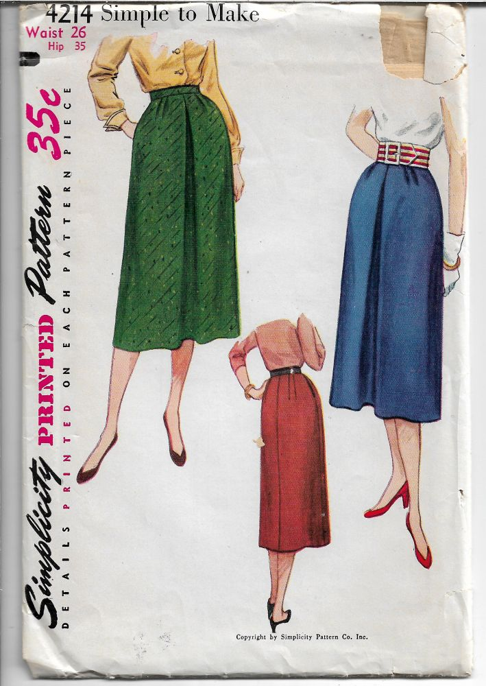 Simplicity 4214 Ladies Skirt Front Pleat Vintage 1950's Sewing Pattern - VintageStitching - Vintage Sewing Patterns