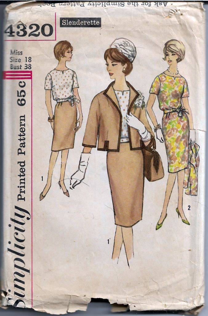 Simplicity 4320 Ladies Blouse Skirt Jacket Slenderette Vintage Pattern