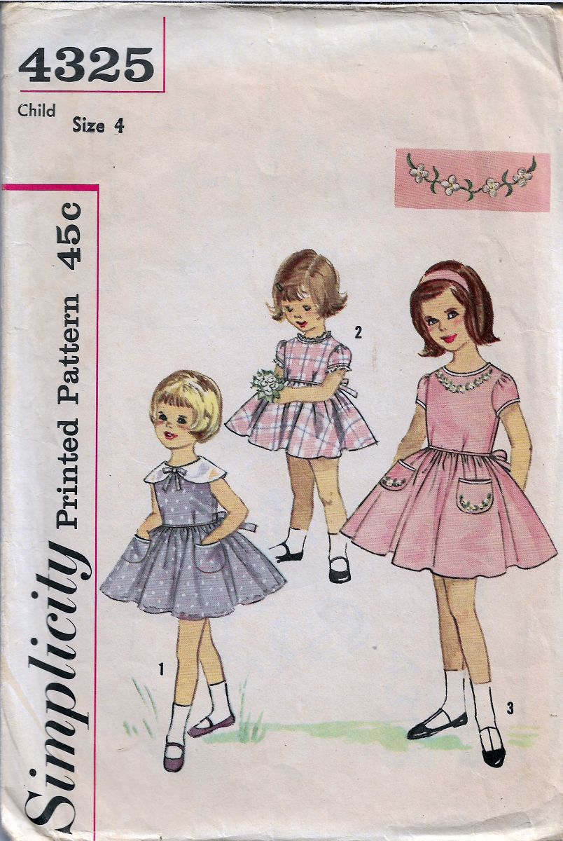 Simplicity 4325 Little Girls Party Dress Shortie Vintage Sewing Pattern 1960s - VintageStitching - Vintage Sewing Patterns