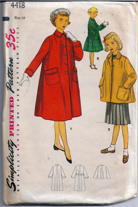 simplicity 4418 girls coat vintage 1950s pattern