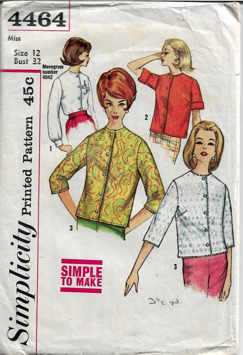 Simplicity 4464 Vintage Sewing Pattern 1960's Misses Blouse - VintageStitching - Vintage Sewing Patterns