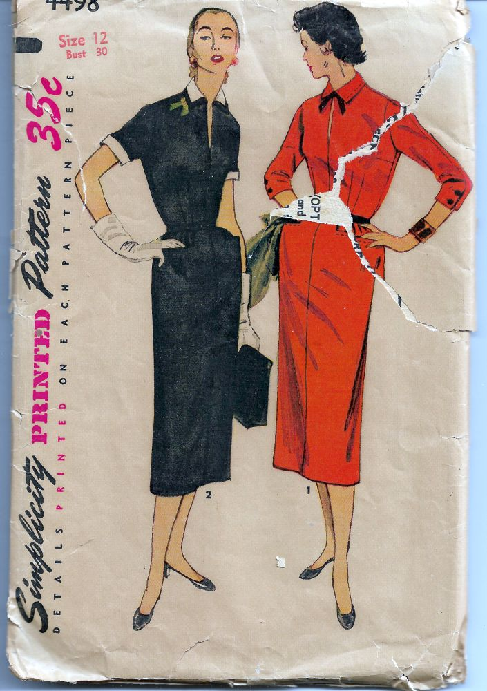 Simplicity 4498 Ladies One-Piece Sheath Dress Vintage 1950's Sewing Pattern - VintageStitching - Vintage Sewing Patterns