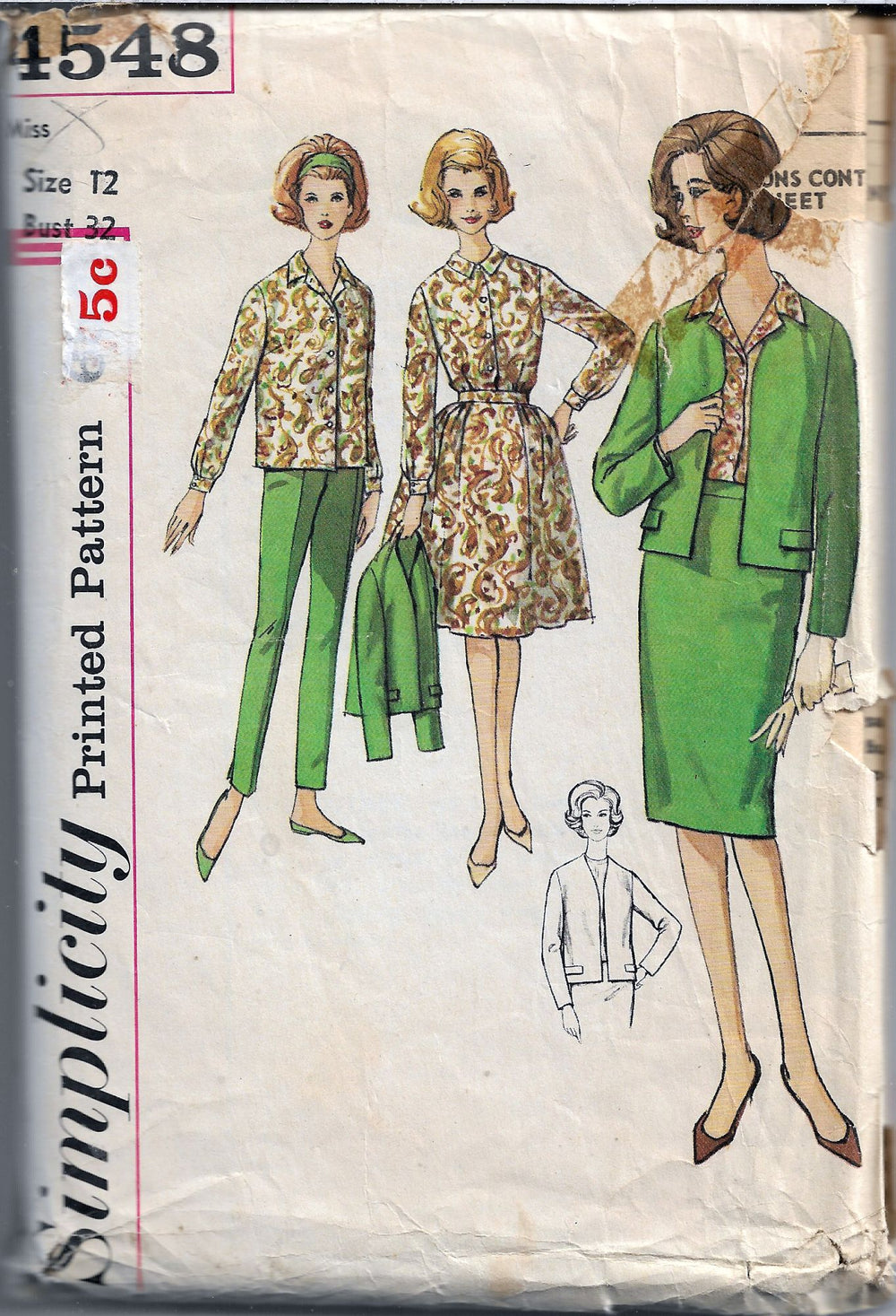 simplicity 4548 vintage sewing pattern 1960s