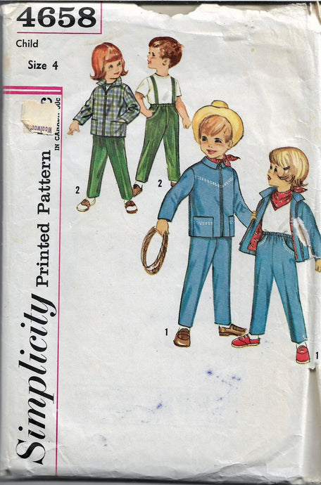 Simplicity 4658 Childs Pants Jacket Kerchief Vintage 1960's Pattern - VintageStitching - Vintage Sewing Patterns
