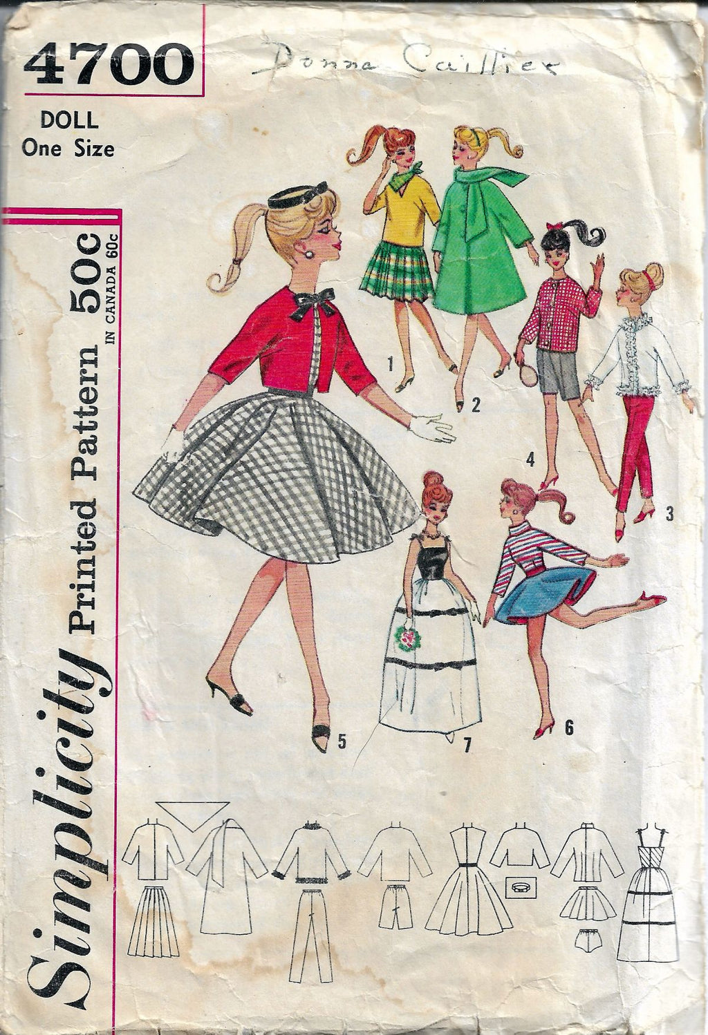 Simplicity 4700 Barbie Doll Clothes Dress Jacket Vintage 1960's Sewing Pattern - VintageStitching - Vintage Sewing Patterns