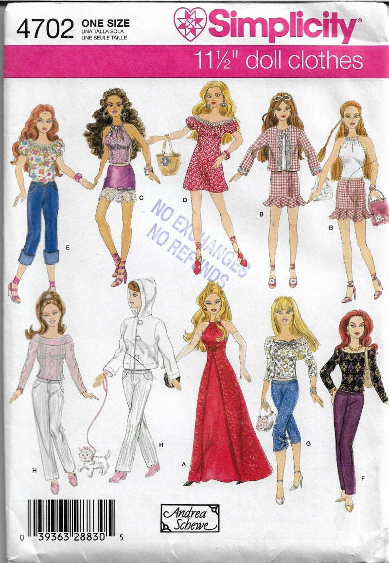 Simplicity 4702 Barbie Doll Wardrobe Dress Halter Top Gown Pants Sewing Pattern - VintageStitching - Vintage Sewing Patterns